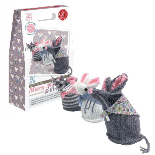 The Crafty Kit Co.Mary Mouse and Friends Knitting Kit Makes 3 Knitted Mice